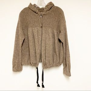 Free People Brown Wool Hooded Sweater Size M
